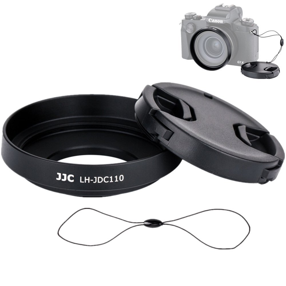 Storage Pouch Lens Cap Keeper String with 49mm Snap On Lens Cap JJC Dedicated Metal Lens Hood LH-DC110 Replacement for Canon PowerShot G1X Mark III//Canon G1XM3 Camera
