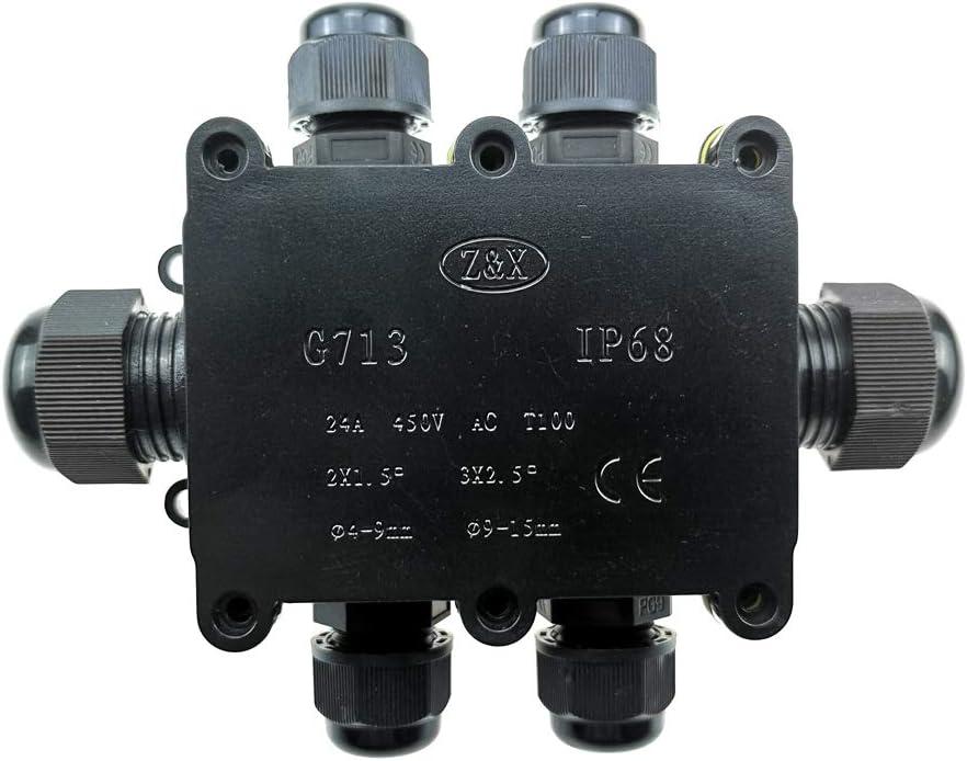 IP68 /étanche /à leau Bo/îtier /électrique Connecteurs de c/âble pour ext/érieur//ext/érieur Gamme de c/âbles 4-9 mm 9-12 mm 12-15 mm Bo/îte de d/érivation TOOLSTAR noir
