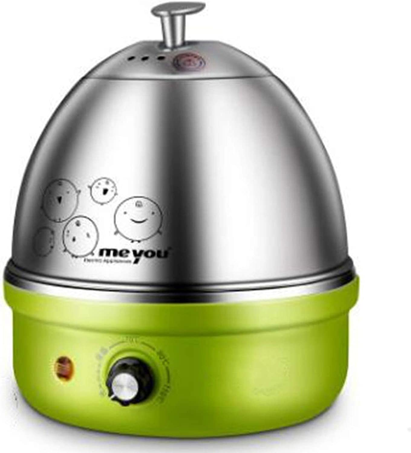 Egg Cookers with Auto Shut Off,Full Stainless Steel Electric Egg Cooker Up To 7 Eggs for Soft, Medium, Hard Boiled, Poached, Custard (Green)