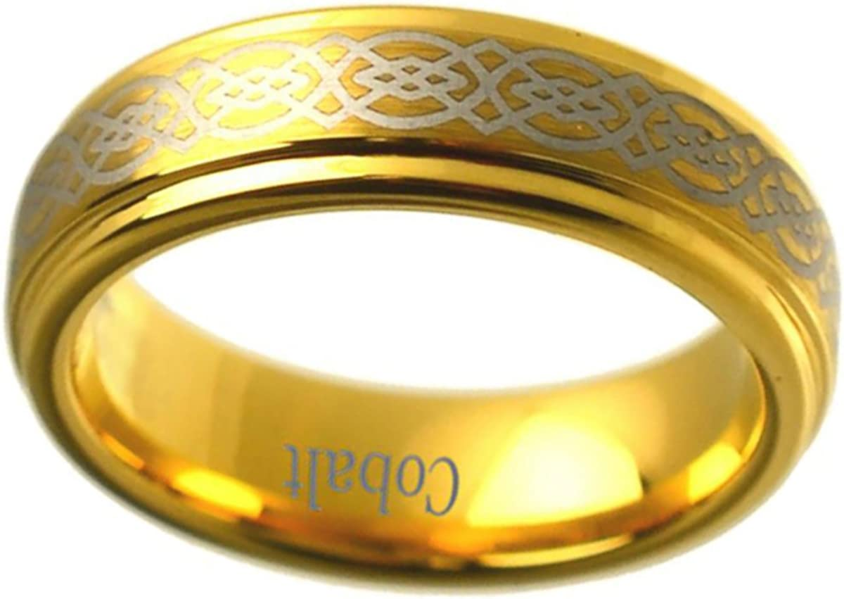 Prime Pristine Personalized Inside Engraving Cobalt Wedding Band Ring 8mm Flat Center with Milgrain and High Polished