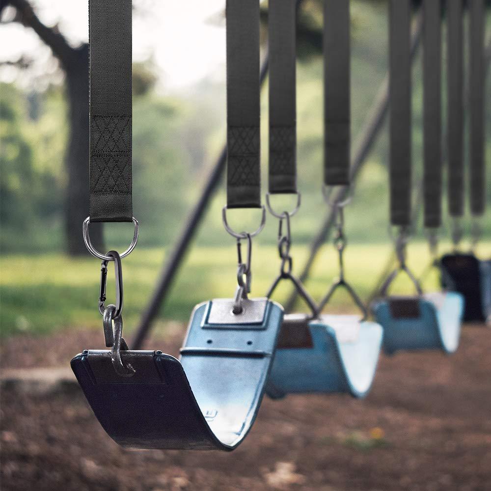 Tree Swing Hanging Kit(Set of 2),GoZheec Tree Swing Straps Holds 2400 lbs Extra Long 10 ft Straps+2 Heavy Duty Carabiners +1 Bonus Spinner for All Kinds of Swings/Hammocks/Mountaineering/Rock (Black)