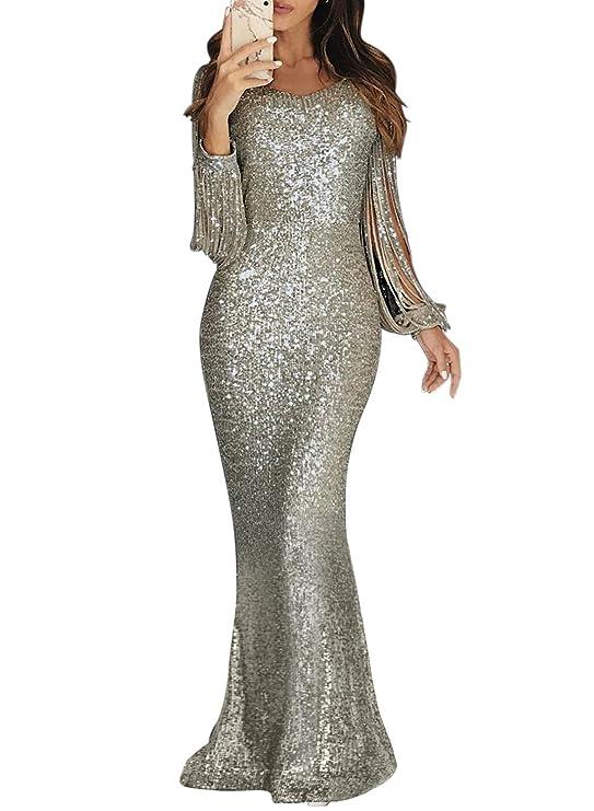 Dokotoo - Vestido de Noche para Mujer, Vestido de Fiesta, Bodas Brillantes, Lentejuelas, Elegante, Vestido de cóctel, Vestido de Fiesta, con borlas Plata Large (EU44-EU46)