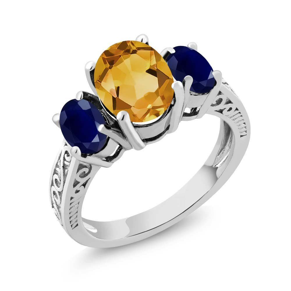 925 Sterling Silver Yellow Citrine and Blue Sapphire 3-Stone Women's Engagement Ring 2.25 Ct Oval (Size 7)