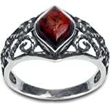 Sterling Silver Red Dark Amber Marquise Shaped Ring