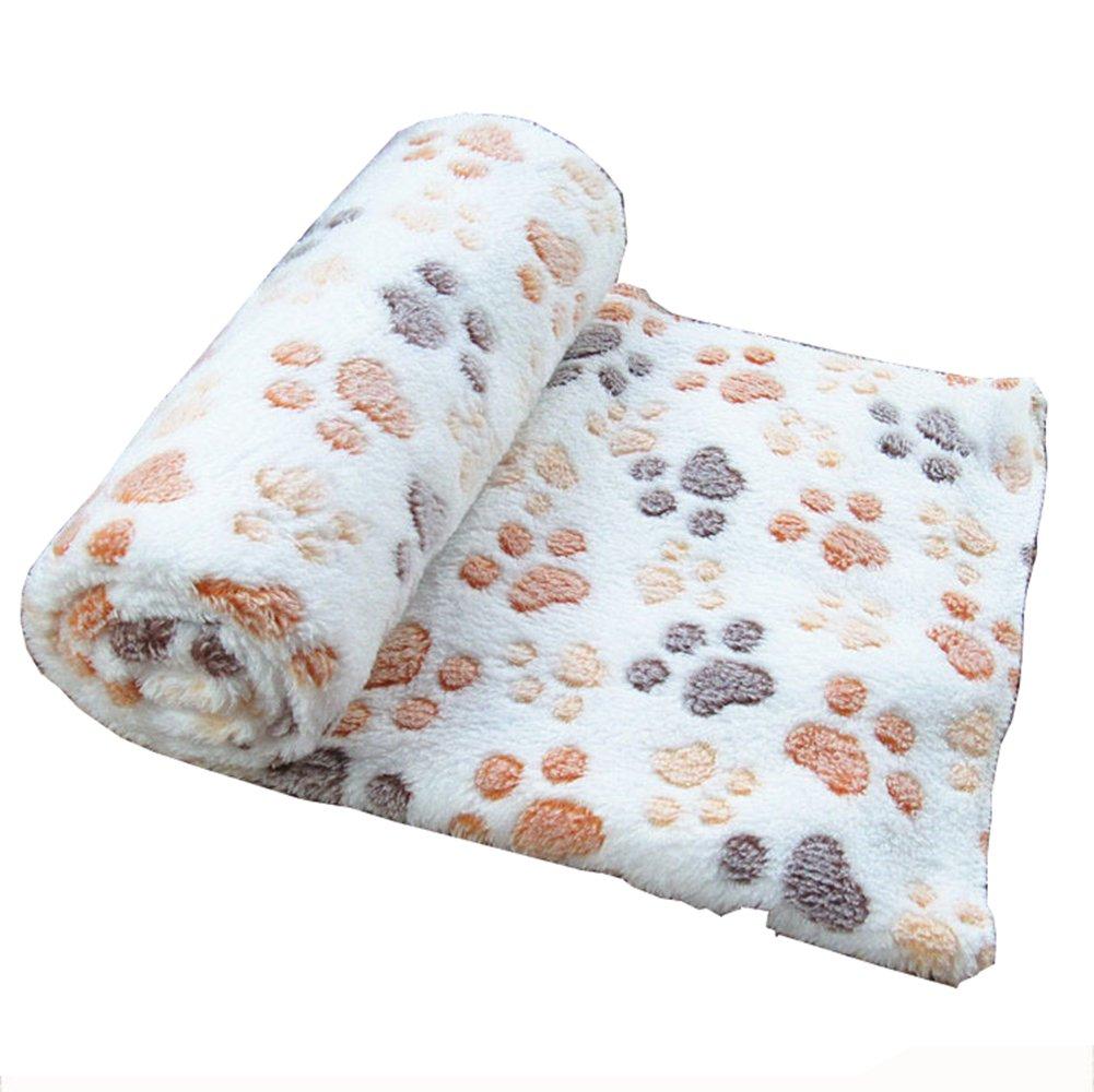 Westeng Tapis Coussin en Velours corail Plus épais Couverture Pliable Doux Confortable Motif de pattes Coussins Pet pour pour les petites et moyennes chiens 80*60cm M