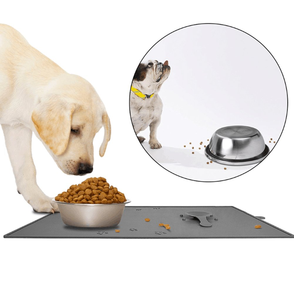 Creation Core Food Grade Silicone Pet Food Mat with 2 Suction Cups Keep Bowls Steady Anti Spill Edge Cat Dog Feeding Tray 18.8 X 11.8''