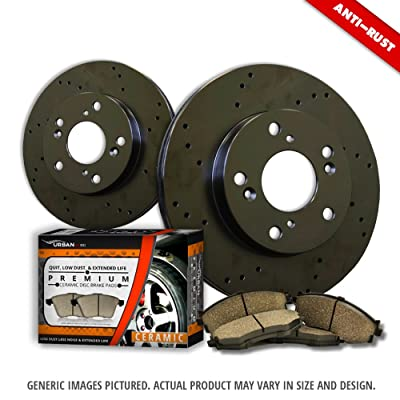 (Front Kit)2 Heavy Duty Black Zinc Plated Drilled Rotors + 4 Ceramic Pad(5lug)-Combo Brake Kit