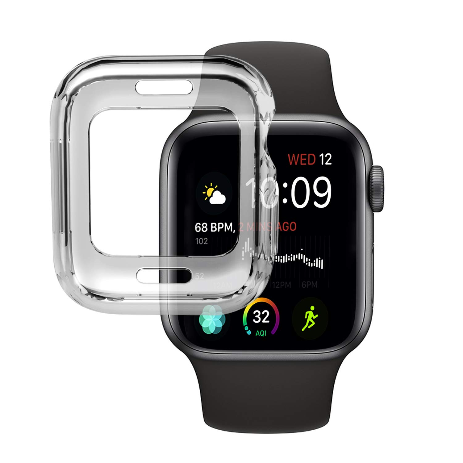 VODKE Compatible with Apple Watch Case Series 4 44mm, Soft TPU Watch Bumper Case Cover Protector Compatible with iWatch Series 4