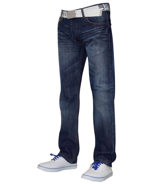 Da Uomo Crosshatch Jeans Dritto Fit Gratis Cintura in Pelle Pantaloni di cotone di marca