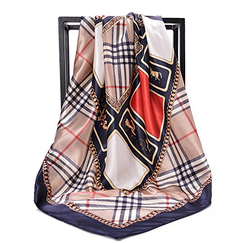 (NUWEERIR Womens Large Satin Square Scarf Silk Feeling Hair Wrapping Gift Designer Scarf 35x35 Inches)