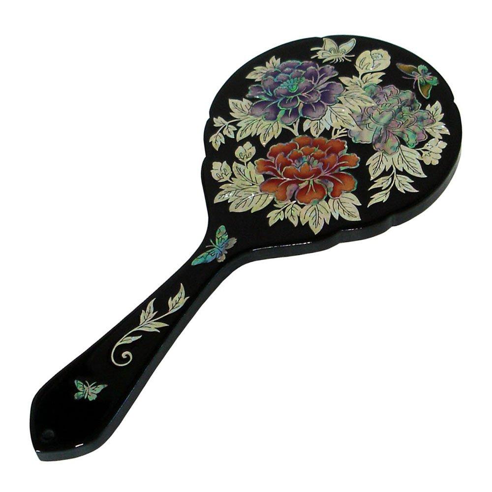 Mother of Pearl Peony Flower Design Large Wooden Cosmetic Makeup Vanity Hand Handheld Lady Girl Women Mirror