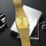 NIBOSI Square Mesh Strap Waterproof with Date Men's Wristwatch