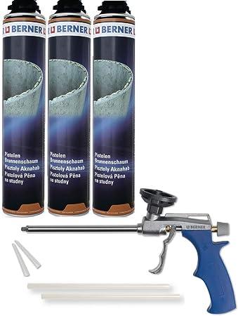 Berner - Espuma para pozos (poliuretano y poliuretano, 750 ml, incluye pistola de espuma Berner para fuentes,