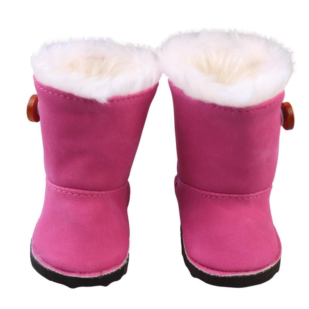 Saingace Plush Winter Snow Boots for 18 inch American Girl Dolls Mini Shoes