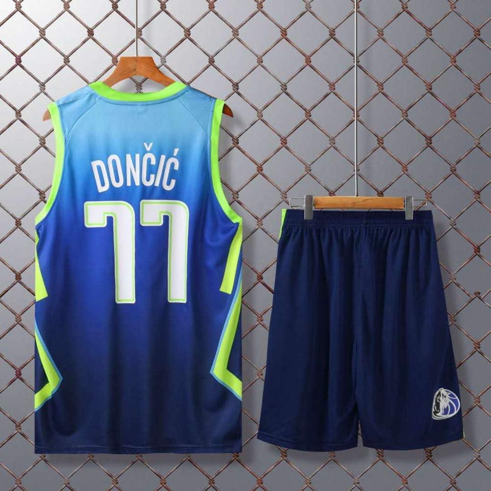Z//A Jersey pour Enfants -Mavericks # 77 Jersey Luka Doncic Ville /Édition Uniformes De Basket-Ball Sports Et Loisirs V/êtements Cadeaux pour des Fans Respirante La Formation T-Shirts