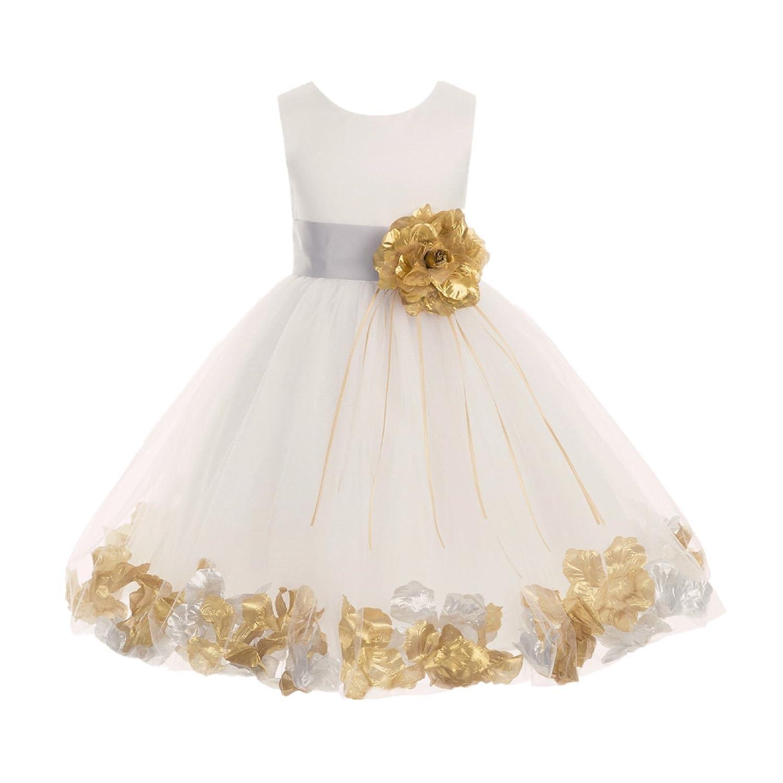 9822cdd9f ekidsbridal Floral Rose Petals Ivory Flower Girl Dress Pageant Dresses  Bridesmaid Dress Birthday Girl Dress 007s 16: Amazon.ca: Clothing &  Accessories