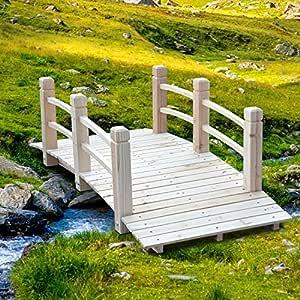 Festnight - Puente de jardín de madera decorativa para exteriores, kit de puentes de jardín de 1, 5 m: Amazon.es: Jardín