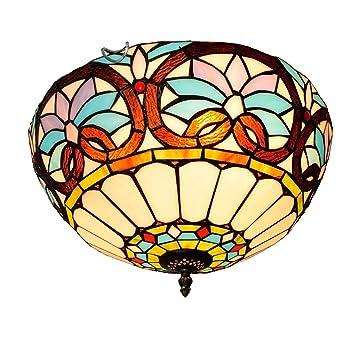 GAOLIQIN Luz de Techo Estilo Tiffany , 60W , Lámpara de ...