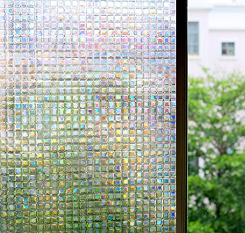 Bloss Stained Glass Window Film Non-Adhesive Privacy Window Covering 3D Window Déco Mini Mosaic Design 17.7