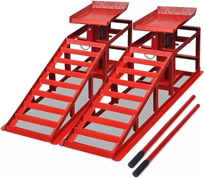 Tidyard Set de 2 Rampas para Coches Rampas para Vehículos Rampa para Moto Elevador de Coches para Reparar Acero Rojo 115x32x31cm: Amazon.es: Hogar