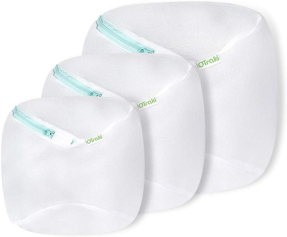 OTraki Mesh Laundry Bag for Front Loading Washing Machine 3 Pack Zip Round Wash Bags College Dorm Travel Drum Washer Dryer Net Protector for Delicates Lingerie Bra Underwear Shirt Baby Socks White