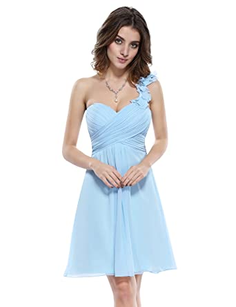 Ever Pretty One Shoulder Flowers Padded Ruffles Short Bridesmaid ...