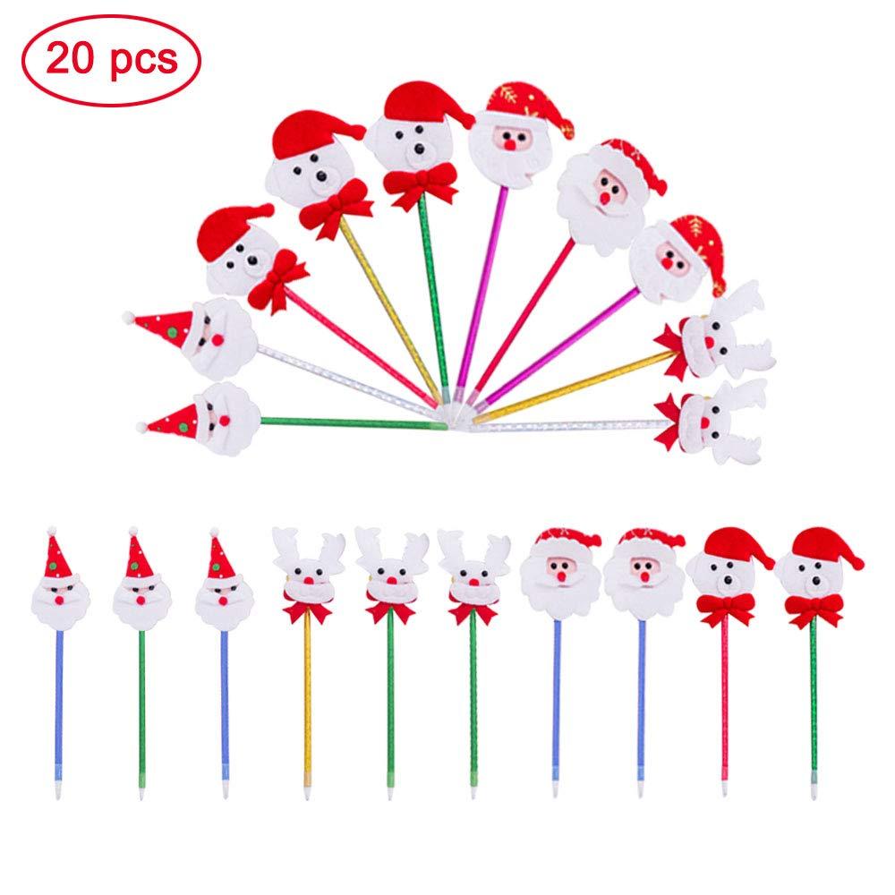 Penna a Sfera Santa Claus Creativo Penna a Sfera Natale Decorativi Di Natale Di Varietà Di Multi Color Natale Forniture Per Ufficio, Scuola, Decorazione Natalizia, 20 Pezzi (Stile Casuale) Ritte