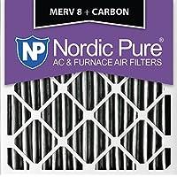 Nordic Pure 14x14x1PM8C-2 MERV 8 Plus Carbon AC Furnace Filter 14x14x1 Pleated Merv 8 Plus Carbon AC Furnace Filters Qty 2