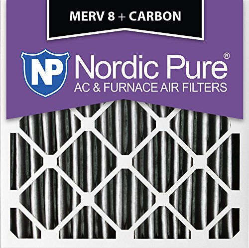 "Pure 14x 14x 1pm8C-12プリーツMERV 8PlusカーボンAC炉フィルタ12パック、14x 14x 1"""