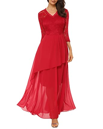 a8fb48bc3969f Image Unavailable. Image not available for. Color: Women's A Line V-Neck  Chiffon Lace Long Mother of The Bride Dress,Burgundy