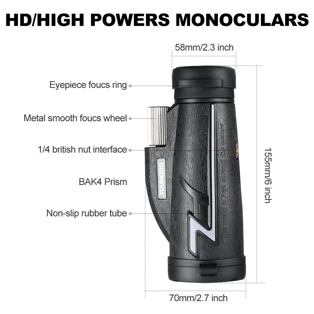 Telescopio Monocular Youngdo 16X50, Doble foco Aumento de alta potencia HD Monocular / binoculares con adaptador móvil y trípode, para observación de ...