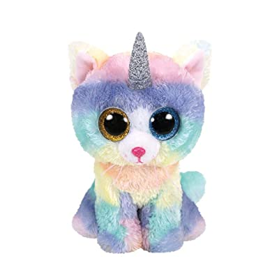 TTy Beanie Baby Soft Toy Multicoloured, ty36250 Heather The Unicorn Cat 15cm: Toys & Games