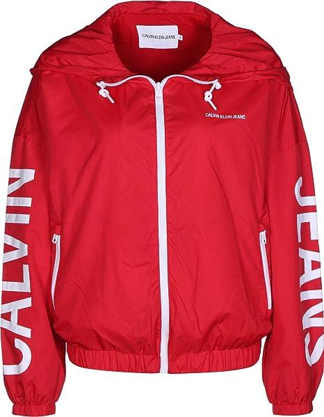 96d9940978 Calvin Klein Giubbotto Giacca a Vento Rosso Donna: Amazon.it ...