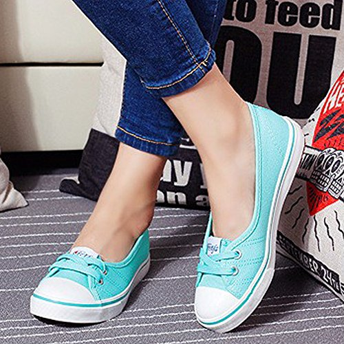 Minetom Mujer Chicas Moda Lona Zapatos Punta Redonda Tacón Plano Espadrilles Ocio Zapatos Verde