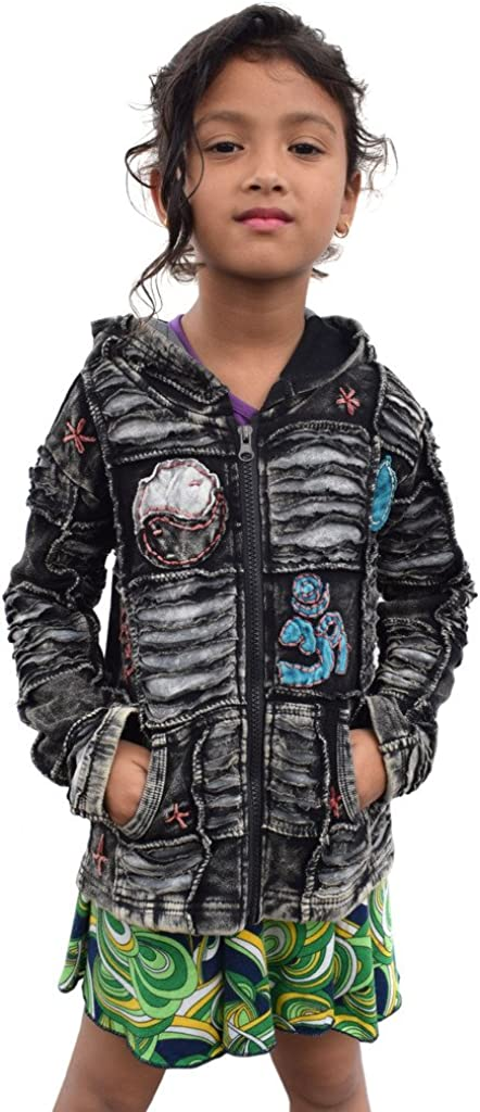 Little Kathmandu Kinder Schwarz Baumwolle Patchwork Jacke M/ädchen Hoodie