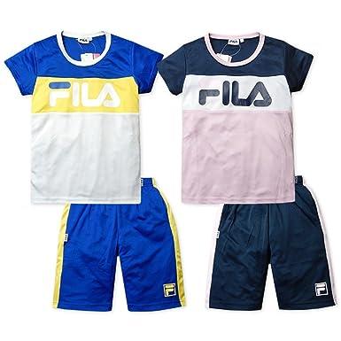 489a074c766ff (ネイビー 160cm)子供服 女の子 ジャージ 上下組 半袖 FILA フィラ Tシャツ