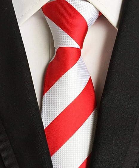 COMVIP Hombres Mal rayas clásicas corbatas tejido Jacquard corbata ...