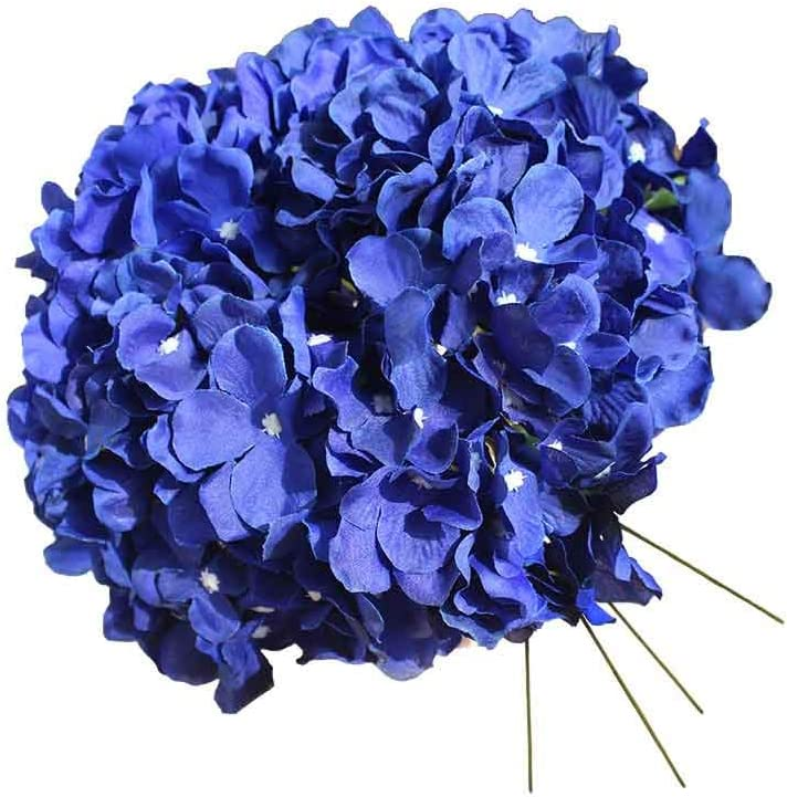 UnikLove Royal Blue Silk Hydrangea Head with Stems Artificial Silk Hydrangea Flowers for Wedding Arrangements Centerpieces DIY Project Party Home Decoration 10pcs