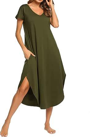 Boyfriend Style Short/Sleepshirt/Half Sleeve Button Night Wear with V Neck/S-XXL Ekouaer Womens Nightshirt