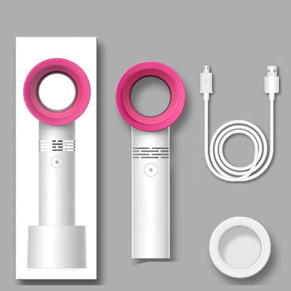 BNSDMM Portable USB Wingless Electric Fan,Handheld Mini Fan Color : White 3 Speed Adjustable,Bladeless Fan,No Leaf Fan Office//Bedroom//Outdoor Fan
