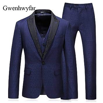 GFRBJK Moda Paek Lapel Slim Fit Novio Tuxedos Hombres Trajes ...