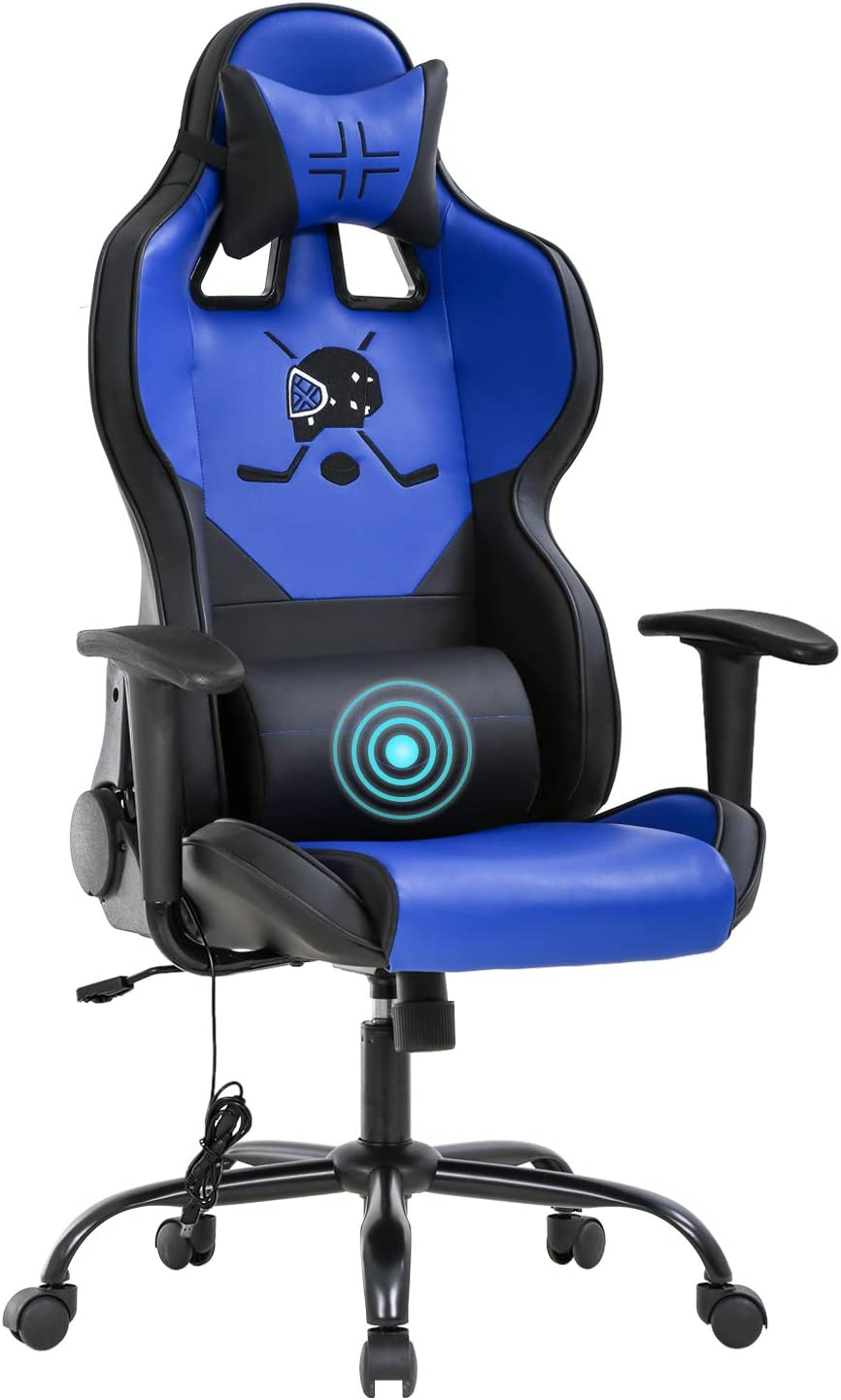 PC Gaming Chair Racing Office Chair Ergonomic Desk Chair with Lumbar Support Headrest Armrest Task Rolling Massage Swivel Chair PU Leather Adjustable E-Sports Computer Chair for Adults Gamer(Blue)