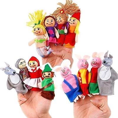 BUDIUK Marioneta Set de Marionetas de Dedo Marionetas de Mano Muñeca de Dedo Animal de Dibujos Animados Animal Cuento de Hadas Tela de Felpa Muñeca Bebé Juguete Educativo (Color : D(3 Set)): Hogar