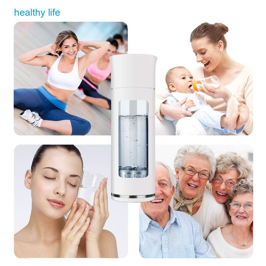 GOSOIT Hydrogen Alkaline Water Bottle Ionizer Hydrogen Water Maker Machine with Patent Hydrogen-enriched Tile Anti-Scald 15oz White