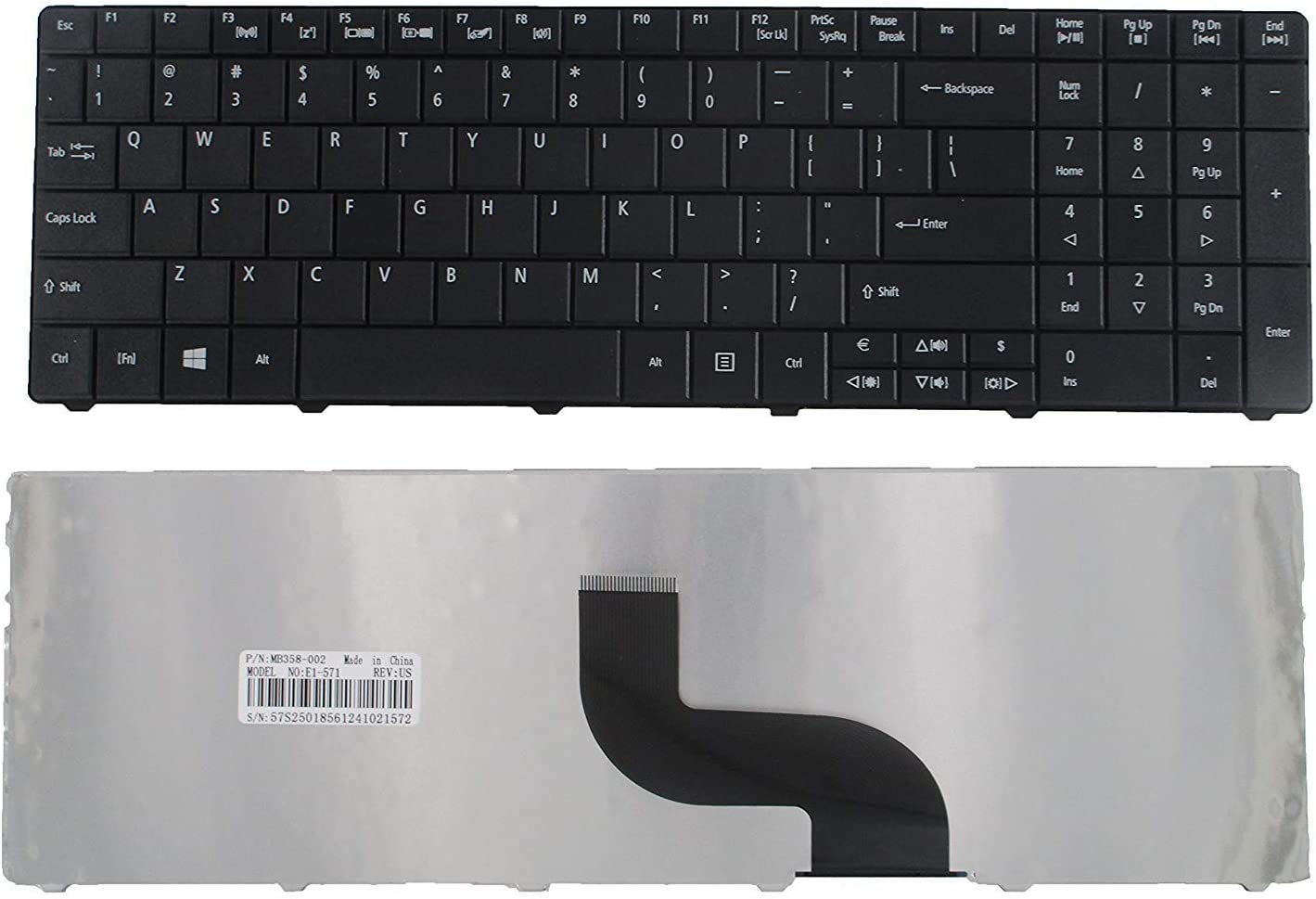 Keyboard Replacement for Acer Aspire E1-521 E1-531 E1-531G E1-571 E1-571G Travelmate P253-E P253-M 8571 8531 8751G 8572 5742Z 5744 5744Z Series Laptop Black US Layout