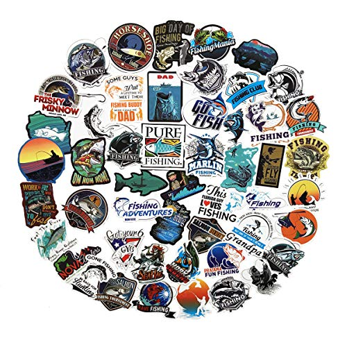 50PCS Go Fishing Sign Stickers Fly Fishing Stickers Phone Laptop Water Bottle Motorcycle Bicycle Luggage Guitar Bike Skateboard Refrigerator Sticker Decal (Fishing 2)
