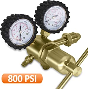 BACOENG Nitrogen Regulator with 0-800 PSI Delivery Pressure, Inlet Connection and 1/4-Inch Male Flare Outlet Connection