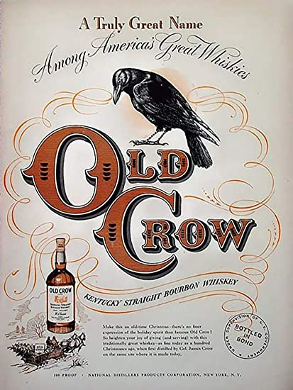 OM Signs Old Crow Bourbon Whiskey ad Reproduction Steel Sign bar Decor