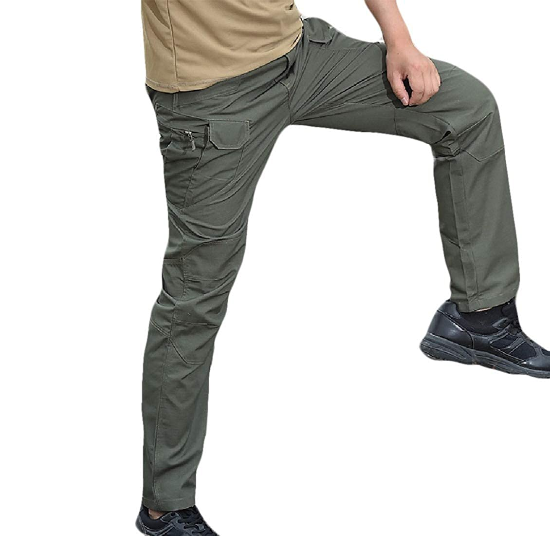 Losait Men Relaxed-Fit Rugged Wear Summer Straight Multi Pockets Cargo Pants