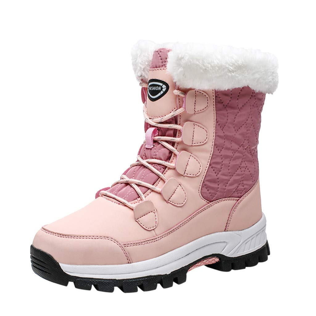 Fheaven Women's Snow Boots Non-Slip Waterproof Warm Ankle Platform Lace-Up Fur Lining Shoe Winter Boots Pink by Fheaven-shoes